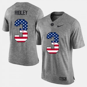 For Men #3 Gray US Flag Fashion Calvin Ridley Alabama Jersey