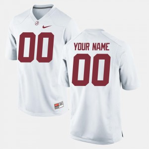 White Alabama Customized Jerseys College Football Men's #00