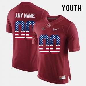 Kids Alabama Customized Jersey #00 US Flag Fashion Crimson