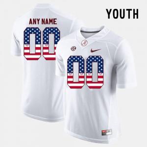 Alabama Custom Jersey #00 US Flag Fashion Kids White