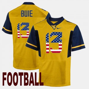For Men US Flag Fashion Andrew Buie WVU Jersey Gold #13