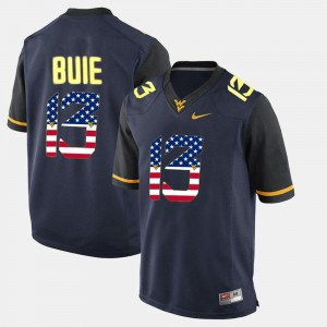 Andrew Buie WVU Jersey US Flag Fashion #13 Mens Navy Blue