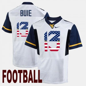 #13 US Flag Fashion White Andrew Buie WVU Jersey Men's