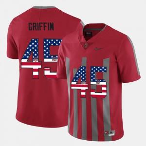 Archie Griffin OSU Jersey For Men #45 Scarlet US Flag Fashion