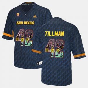 Men's #42 Player Pictorial Black Pat Tillman ASU Jersey