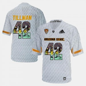 For Men's Player Pictorial White Pat Tillman ASU Jersey #42