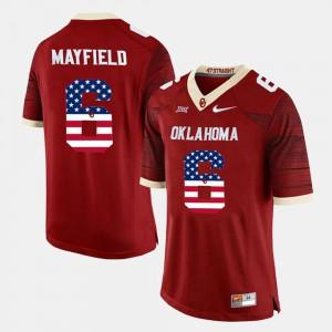 Crimson #6 For Men Baker Mayfield OU Jersey US Flag Fashion