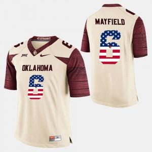 Baker Mayfield OU Jersey US Flag Fashion Men White #6