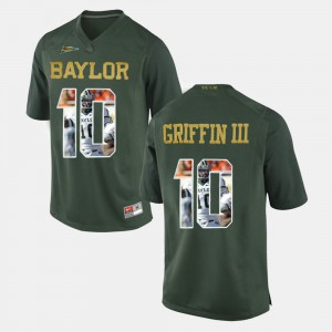 #10 Green Player Pictorial Robert Griffin III Baylor Jersey For Men