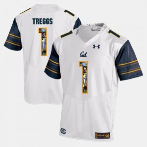 Player Pictorial White #1 Bryce Treggs Cal Bears Jersey For Men's