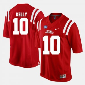 Mens Alumni Football Game Red #10 Chad Kelly Ole Miss Jersey