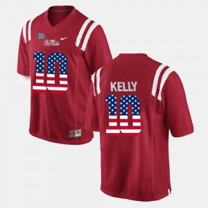 #10 For Men's US Flag Fashion Chad Kelly Ole Miss Jersey Red