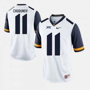 White #11 Chris Chugunov WVU Jersey Alumni Football Game Men