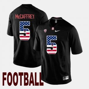 Men's #5 US Flag Fashion Black Christian McCaffrey Stanford Jersey