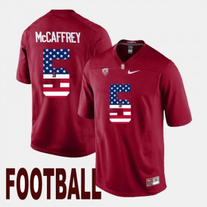 For Men US Flag Fashion Christian McCaffrey Stanford Jersey Cardinal #5