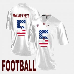 Christian McCaffrey Stanford Jersey US Flag Fashion #5 White Men's