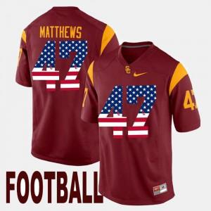 US Flag Fashion Maroon Men's #47 Clay Matthews USC Jersey