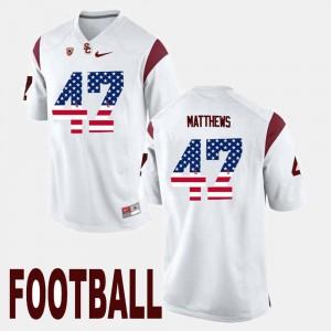 Clay Matthews USC Jersey White #47 US Flag Fashion Men