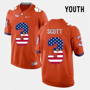 #3 Artavis Scott Clemson Jersey Orange US Flag Fashion Kids