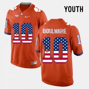 #10 US Flag Fashion For Kids Ben Boulware Clemson Jersey Orange