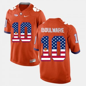 Orange #10 Ben Boulware Clemson Jersey For Men US Flag Fashion