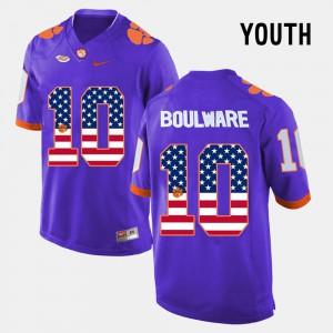 Ben Boulware Clemson Jersey US Flag Fashion #10 For Kids Purple