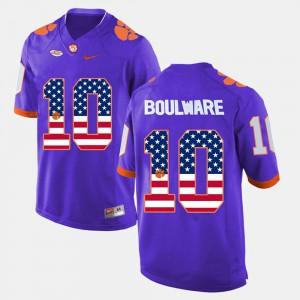 Ben Boulware Clemson Jersey Purple For Men US Flag Fashion #10