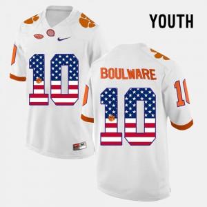 #10 US Flag Fashion White Youth Ben Boulware Clemson Jersey