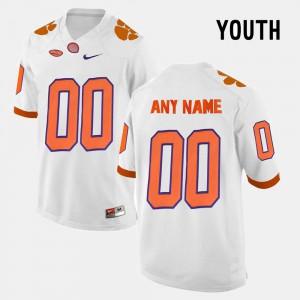 #00 White Clemson Custom Jerseys College Limited Football Kids