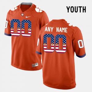 Orange US Flag Fashion Clemson Customized Jersey #00 Youth