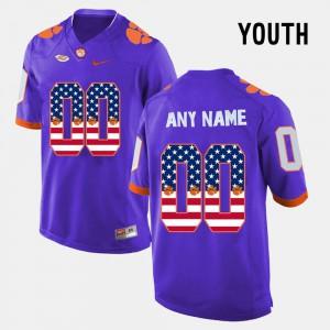 Clemson Custom Jerseys Purple US Flag Fashion #00 Youth(Kids)