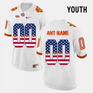 US Flag Fashion Clemson Custom Jerseys Kids #00 White
