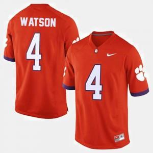 Men #4 Deshaun Watson Clemson Jersey Orange College Football