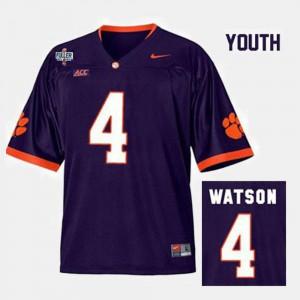 #4 College Football Kids Deshaun Watson Clemson Jersey Purple