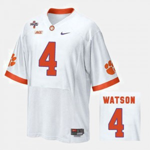 College Football #4 Men's Deshaun Watson Clemson Jersey White