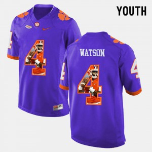 Youth(Kids) Purple #4 DeShaun Watson Clemson Jersey Pictorial Fashion