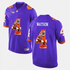 Men #4 DeShaun Watson Clemson Jersey Purple Pictorial Fashion