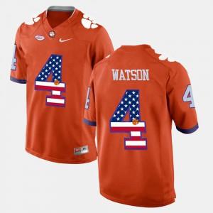 Orange Mens #4 US Flag Fashion DeShaun Watson Clemson Jersey