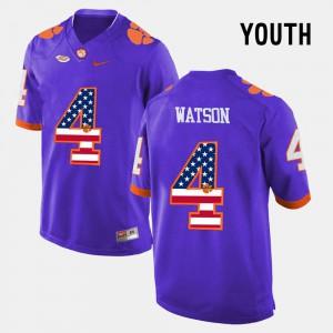 DeShaun Watson Clemson Jersey Purple US Flag Fashion Kids #4