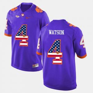 #4 DeShaun Watson Clemson Jersey Men Purple US Flag Fashion
