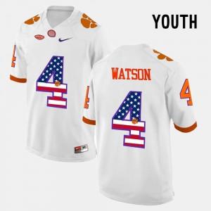 White #4 DeShaun Watson Clemson Jersey Youth(Kids) US Flag Fashion