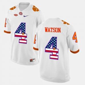 #4 DeShaun Watson Clemson Jersey For Men's White US Flag Fashion