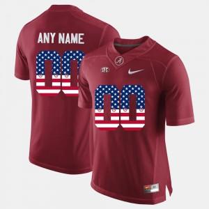 Crimson US Flag Fashion Alabama Customized Jersey #00 For Men