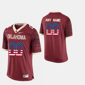 US Flag Fashion OU Custom Jerseys Crimson #00 For Men