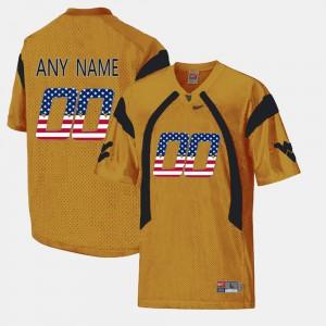 US Flag Fashion #00 WVU Custom Jerseys For Men's Gold