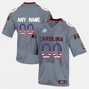 US Flag Fashion #00 South Carolina Custom Jersey For Men Grey