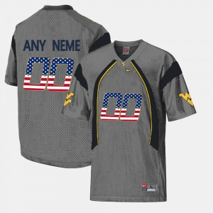 #00 For Men WVU Custom Jerseys US Flag Fashion Grey
