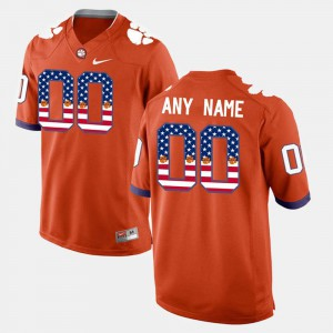 #00 Orange US Flag Fashion Clemson Custom Jerseys For Men
