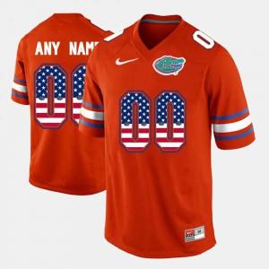 US Flag Fashion For Men #00 Gators Custom Jerseys Orange