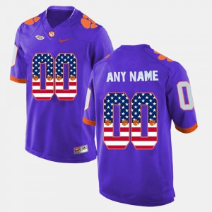 #00 US Flag Fashion Clemson Customized Jersey Men Purple